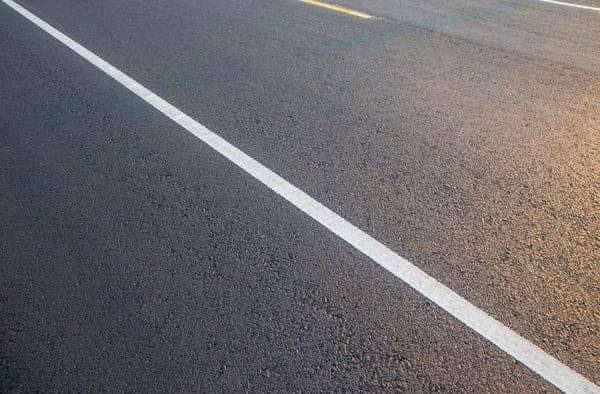 single white line on road